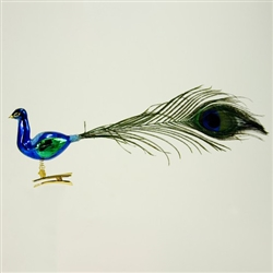 Glass Peacock Ornaments - Poles traditionally decorate their Christmas trees with ornaments of birds. The peacock is a favorite. Although not made in Poland these glass clip-on ornaments are nicely detailed and feature tails made of real peacock feathers.