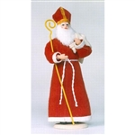 Polish Regional Doll: Swiety Mikolaj - Polish St. Nicholas With Staff - (Large).  This 12 inch tall traditional Polish doll is completely hand made the old fashioned way with papier mache, dress materials and paints.  Fine workmanship, great details.