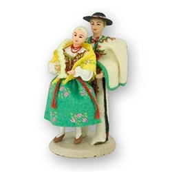 Even today the Polish mountaineer's clothing is worn daily by many of the inhabitants of the Podhale region. These dolls are  clothed in authentic regional folk costumes, as certified by the Polish Ministry of Culture.