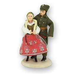 Polish Regional Doll: Krakowianka Lady with Soldier