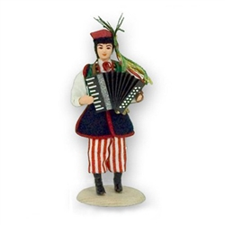 Polish Regional Doll: Krakowiak Playing the Accordion