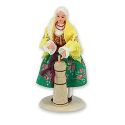 Polish Regional Doll: Goralka Lady Churning Butter