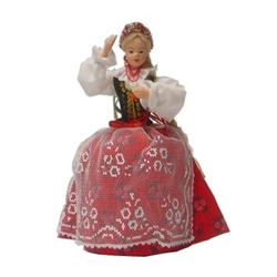This traditional Polish Krakowianka doll is completely hand made the old fashioned way with papier mache, dress materials and paints. It opens from the bottom to reveal a hidden storage area perfect for rings or small keepsakes.