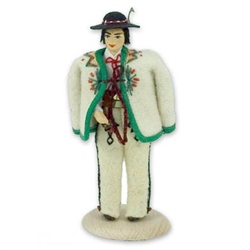 This traditional Polish doll is completely hand made the old fashioned way with papier mache, dress materials and paints.  The doll is clothed in authentic regional folk costume.
