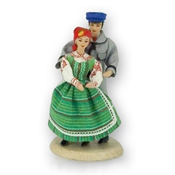 "Kurpie Couple (5½""-6"" tall); This traditional Polish doll set is completely hand made the old fashioned way with papier mache, dress materials and paints.  The dolls are clothed in authentic regional folk costume."
