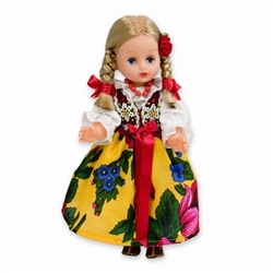 This doll, dressed in a traditional Goral outfit, wonderfully crafted and fun to collect. Costumes are hand made, so costume and colors can vary.