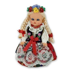 This doll, dressed in a girl's Krakowiak outfit, wonderfully crafted and fun to collect.  Costumes are hand made and vary slightly from doll to doll.