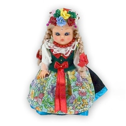This doll, dressed in a traditional Slask outfit, wonderfully crafted and fun to collect.  Costumes are hand made and vary slightly from doll to doll.