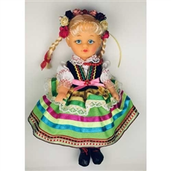 This doll, dressed in a traditional Lublin outfit, wonderfully crafted and fun to collect. Costumes are hand made and vary slightly from doll to doll.