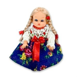 This doll, dressed in a traditional Goral outfit, wonderfully crafted and fun to collect. Costumes are hand made, so costume and colors will vary.