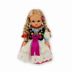 This doll, dressed in a traditional Rzeszow outfit, wonderfully crafted and fun to collect.  Costumes are hand made and can vary slightly.