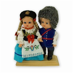 This pair of dolls, dressed in traditional Kaszub outfits, wonderfully crafted and fun to collect.  Each doll costumes is hand made so slight differences in colors and shades will very from doll to doll.