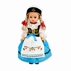 This doll, dressed in a traditional Kaszub outfit, wonderfully crafted and fun to collect.