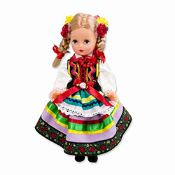 This doll, dressed in a traditional Lublin outfit, wonderfully crafted and fun to collect. Costumes are hand made, so costume and colors will vary.
