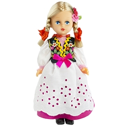 This doll, dressed in a traditional Rzeszow outfit, wonderfully crafted and fun to collect. Costumes are hand made, so costume and colors will vary.