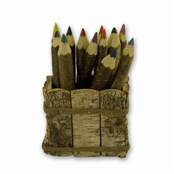 Natural Twig Crayons With Desk Holder - Lesne Kredki