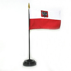 Perfect size to put on a desk, shelf or table.  You may ask why this version of the Polish flag has the Polish Eagle?   There are actually two versions of the Polish flag.  The official version without the Eagle and this one with the Eagle.
