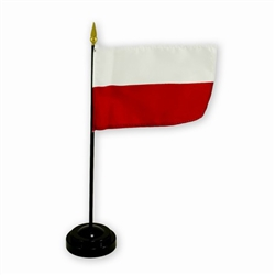 Poland Desk Flag On Stick Without Eagle