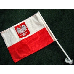 "Car Window Polish Flag With Eagle, Knitted 2-sided Nylon on 19"" Plastic Window Bracket"