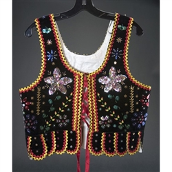 These Krakowianka vests are nicely decorated with beading and sequins, perfect for dancing or just displaying your heritage.  Our sizes are available for children and adults.