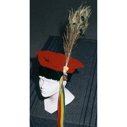 This is the traditional four cornered hat of Poland's national folk costume from the Krakow region.  This distinctive hat features a plume of peacock feather.  Why the peacock feather?  See below.