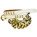 Adorned with brass studs, rings and a buckle this Krakow belt is made from a solid piece of faux leather.  Made entirely by hand in Poland. Available in red or white.