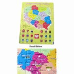82 Cardboard Piece Puzzle that will help you learn the Crests of 18 Major Cities and Identify the 16 Administrative sections of Poland.