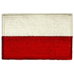 This is a thick stitched Polish flag read to sew on to a jacket similar to those worn by the Polish army.