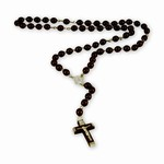 Hand made in Poland this traditional wooden rosary features a center medallion of John Paul II on one side and Our Lady Of Czestoshowa on the other.