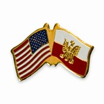 American and Polish Crossed Flag Pin with Eagle