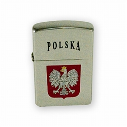 Zippo style lighter emblazoned with the Polish eagle crest below the Polish word for Poland - Polska.