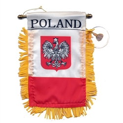 Two-Sided Window Banner is Silk-screened Eagle/ Flag that us made of cloth, trimmed with gold fringe.