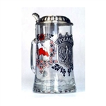 This is a very handsome beer mug! What a great gift for any occasion!  A three-color direct print is permanently fired on the stein body. On the both sides are the Polish white & red flags. A pewter appliqué is in the front of the stein