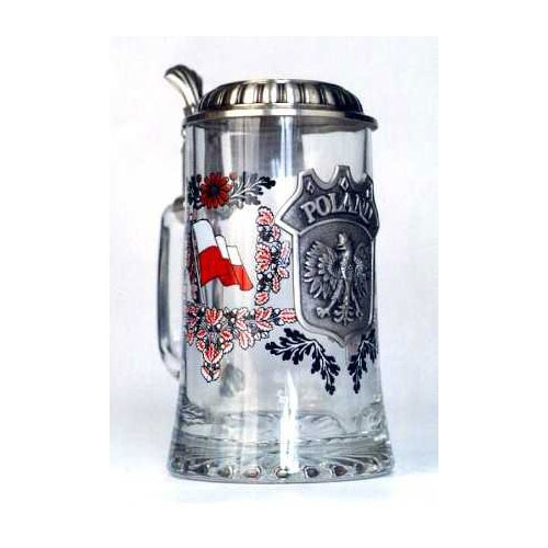 Polish Art Center Heritage Glass Stein With Pewter Crest And Lid Poland