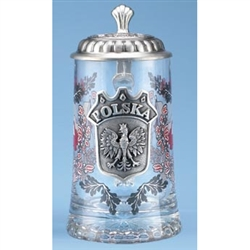 This is a very handsome heritage stein! What a great gift for any occasion! The Polish Eagle is proudly displayed in a crest with POLSKA (Poland) in raised letters. The Polish Flag surrounded by oak leaves adorns both sides of the crest.