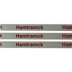 'Hamtramck' Ribbon: White with Metallic Red