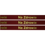 'Na Zdrowie' Ribbon: Red with Metallic Gold