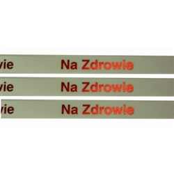 'Na Zdrowie' Ribbon: White with Metallic Red letters.  Use for interesting and unique gift wrapping.  Also use as embellishments for scrapbooking.  English translation:  'To Your Health/Cheers'