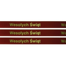 'Wesolych Swiat' Ribbon: Red with Metallic Gold