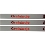 'Gratulacje' Ribbon (White with Metallic Red letters).  Use for interesting and unique gift wrapping.  Also use as embellishments for scrapbooking.  English translation:  'Congratulations'