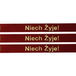 'Niech Zyje!' Ribbon (Red with Metallic Gold letters).  Use for interesting and unique gift wrapping.  Also use as embellishments for scrapbooking.  English translation: 'Live Long'