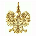 14 carat gold Polish eagle.  These eagles are made in Hamtramck by a master jeweller.  After being removed from the cast they are hand polished and diamond cut which highlights all the details.