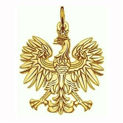 "Gold plated silver (.925) Polish eagle. Size is approx .75"" diameter and weight is 1.2g. Made In Poland. This eagle is stamped and has a flat surface."
