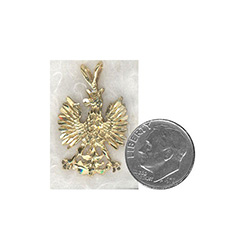 14 carat gold Polish eagle.  These eagles are made in Hamtramck by a master jeweler.  After being removed from the cast they are hand polished and diamond cut which highlights all the details.