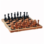 Beautiful hand crafted oversized oak chess set. Pieces have felt bottoms and each fits inside the box in its own formed place.