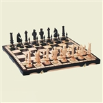 Beautiful hand crafted extra large wooden chess set. Pieces have felt bottoms and each fits into its own formed place.