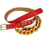 Adorned with brass studs, rings and a buckle this Krakow belt is made from a solid peace of faux leather.  Made entirely by hand in Poland. Available in red or white.