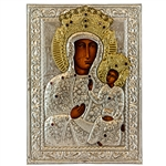 Made in Poland this icon is hand painted and covered with a beautiful cover of zinc plated copper featuring fine bas-relief. This picture is studded with red faux gems.