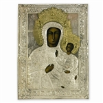 Made in Poland this icon is hand painted and covered with a beautiful cover of zinc plated copper featuring fine bas-relief.