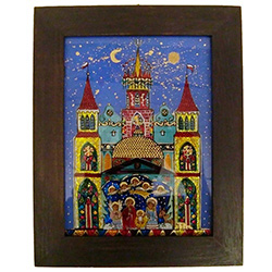 Painting the Szopka Krakowska on the reverse side of glass is a specialty of master artist Janina Oleksy-Lew